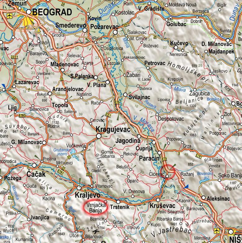 aleksandrovac srbija mapa Vrnjacka Banja aleksandrovac srbija mapa